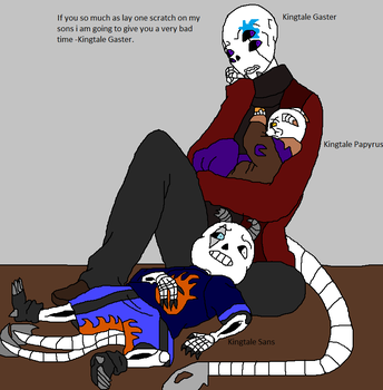 Kingtale Gaster and his sons very protective dad by Natalia-Clark
