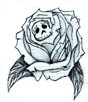 SKull with rose by WereWeirdo