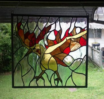 Moltres stained glass by cellocalypse