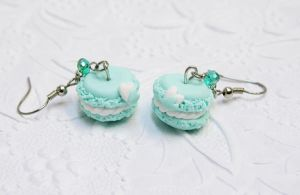 Macaroon Mint Cookie Earrings by DarkRaven17