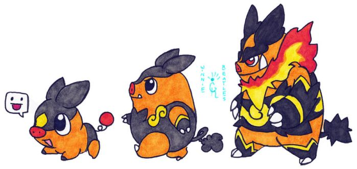 Walky Tepig Line by Porcubird