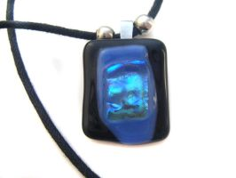 Blue + Black Dichroic Necklace by fairy-cakes