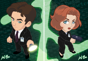 The X-Files Mulder and Scully Art Cards by kevinbolk