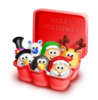 Whimsical Cartoon Eggs in Christmas Carton by KomodoEmpire