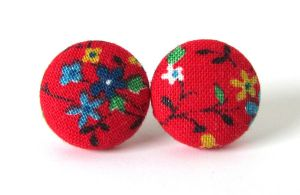 Stud earrings Asia red yellow green blue flower by KooKooCraft