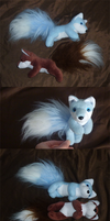 Fluff foxies: Baby blue and Chocolate brown by goiku