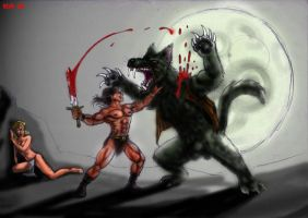 barbarian vs werewolf finished by king-ghidorah