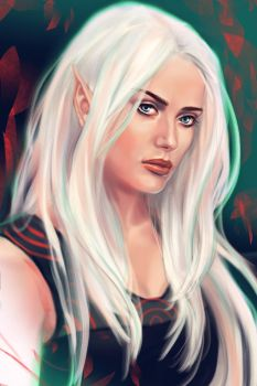 Commission portrait: half-Elf by Cher-Ro
