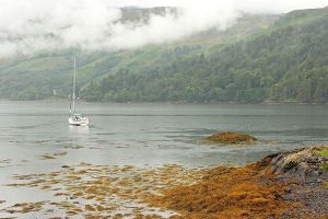 Boat and Mist at Eilean Donan by AgiVega