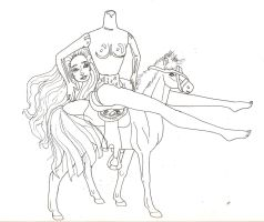 Dullahan Barbie Lineart by MommaCabbit