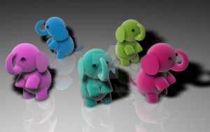 3D Elephants by T-2-M