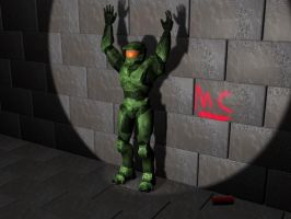 Master Chief Spray Painting by JayDemedrian