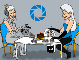 Tea Party at Aperture Science by Wolf-Shadow77