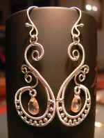 silver earring with zircon by irineja