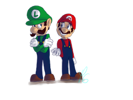 Mario and Luigi by Poulterghiest