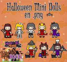 Halloween Mini Dolls pngs by RoohEditions