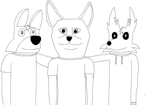 Me, Axerah, and Fai (uncolored) by JonHankercheif