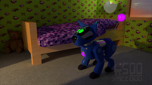 3D Space Dog in a room by SpaceDog500