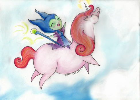Maleficent riding a unicorn by Ryvienna