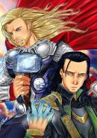 Thor and Loki by carolriverart
