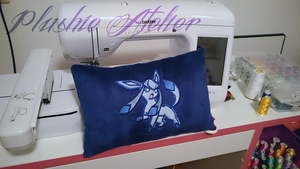 Commission: Glaceon Cushion by SakuSay