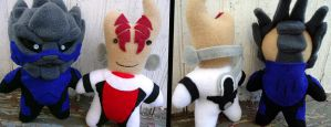 Mordin and Garrus plushies by greenchylde