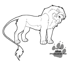 Lion Line Art by LittleKirara