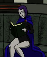 It's Raven and she's reading whadoyouwantfromme by kryptocow