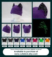 Spider Web Cat Hat Glow in the Dark Halloween by cutekick