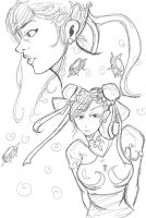Chun-Li sketches by godalexa