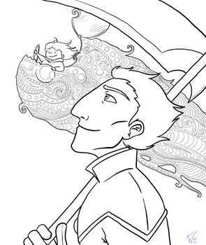 The General and the Star Pilot: Lineart by areyouokaypanda