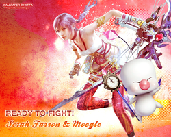 Serah and Moogle wallpaper by ladylucienne