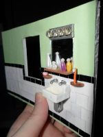 Retro Dollhouse WIP: Bathroom Sink Wall by kayanah