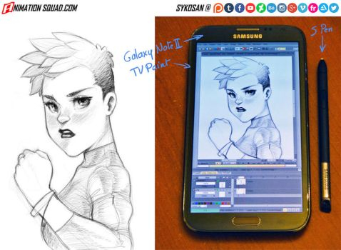 My first sketch on Galaxy Note 2 by sykosan