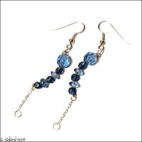 Curved Blue Bead Earrings by bluucircles