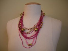Pink and Gold Beaded Necklace by FenigDurak