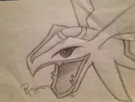 Rayquaza Head Sketch by blushiee