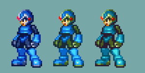 My MMZ style X with different palettes by MegamanX-2009