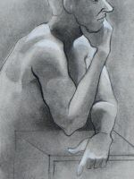 Male Nude Contemplating by coradee