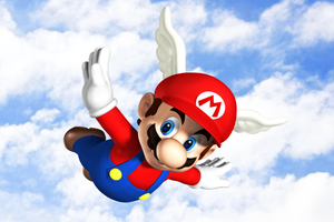 Wing Mario flies in the cloudy blue sky by Legend-tony980