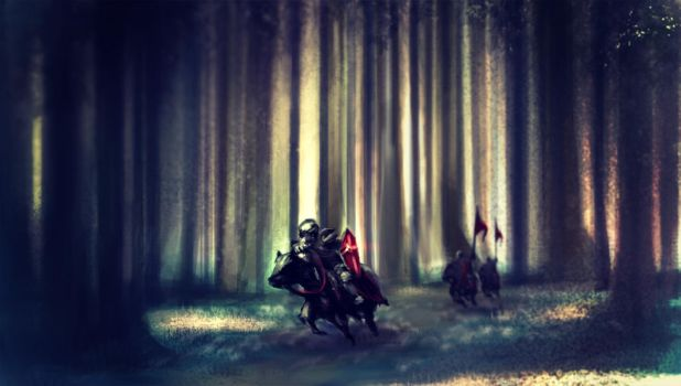 knights on their way to battle by JayBarrera