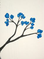 Blue Flowers on branch big by ExcaliburZ