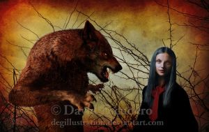 Little Red Cap and the wolf by DEGillustration