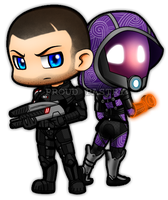 LB: Commander Shepard and Tali'Zorah by ProudPastry