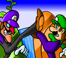 Luigi VS Waluigi by doctorWalui