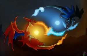 Mega Charizards Sky Battle by DemiurgikArt