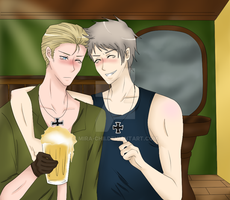 APH-Drinking beer with the bro by Mira-chii