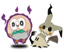 Mimikyu and Rowlet by AwokenArts