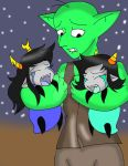 Glumshank holding  Vriska and Terezi as babies by CathyMouse2010