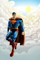 Superman in sky morning color by cehnot